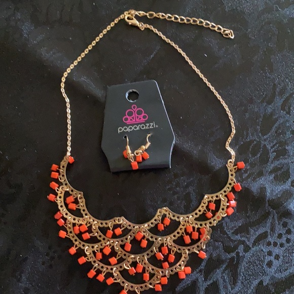 3/$15 New Paparazzi Orange Necklace and Earrings